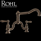 Rohl Country Kitchen Deck Mount Column Spout Bridge Kitchen Faucet