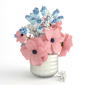 Bouquet with pink anemones