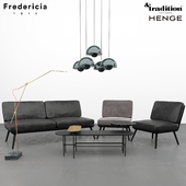 Andtraditional Palette JH7 table, Flowerpot VP1 lamp, Fredericia Spine lounge, Henge Pipe Light-L