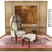 chair and decor Restoration hardware
