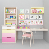 Desk with decor in the nursery