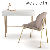 West Elm Audrey Mini Desk and Jane Dining Chair Velvet