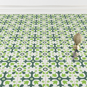 Floor tile in green tones