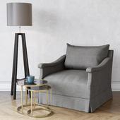 Dmitry & Co Vallone Lounge Chair / Porta Romana CST39 Tables / Heathfield & Co Tripod Wenge Floor Lamp