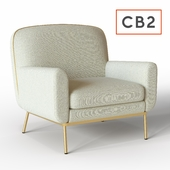 CB2 halo white snow armchair