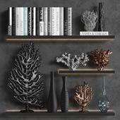 Декоративный набор из кораллов книг и ваз