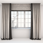 Direct two-color curtains in the floor and Roman curtains in a modern style with a window