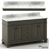 Double sink wooden vanity with metal faucet