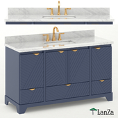 Double sink blue wooden vanity with Carrara marble top