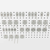 A set of RasterPlan fasteners for perforated panels