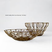 Metal Scallop Shells Low Bowl and Tall Bowl