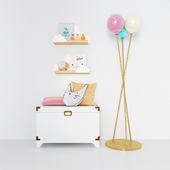 Box for toys, lamp and shelves from The land of Nod