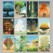 A set of 12 posters based on Hayao Miyazaki's films