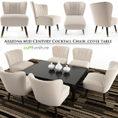 Arizona Mid Century Cocktail Chair, Cofee Table