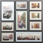 A set of paintings depicting Venice from Ugo Baracco