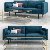Monroe Mid Century Sofa Celestial Blue