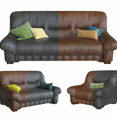 Set of leather upholstery furniture