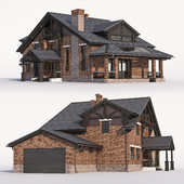 Two-storey chalet house with an attic and a garage.