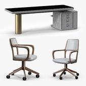 Baxter Verba Volant Desk and Giorgetti Baron Armchair
