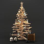 Новогодняя елка из палок.