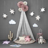 Decorative set for children with canopy