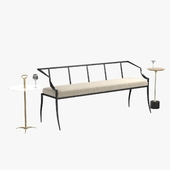 arteriors lexi bench, harper, fitz accent table