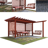 Wooden gazebo with swing and surroundings