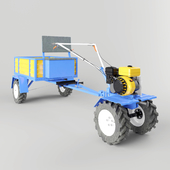 the walking tractor with trailer
