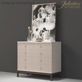 juliette interiors Italian Art Deco Inspired Designer Lacquered Chest of Drawers