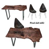 Wood slab table set 2