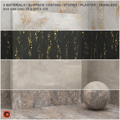 4 materials (seamless) - stone, plaster - set 5