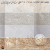 4 materials (seamless) - stone, plaster - set 6