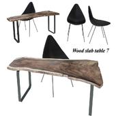 Wood slab table set 7