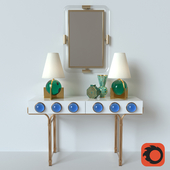 Jonathan Adler- Globo Console- Globo Vanity Lamp- Jacques Mırror- Malachite Oct Vase- Rıngs Vase