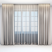Satin straight beige curtains in the floor and tulle in a modern style
