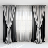 Black satin curtains with pick-up brush, gray curtains in the floor and tulle