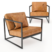 Black Metal Frame and Tan Leather Armchair