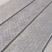 3 variants of pavement with road set_4