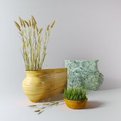 Vases and wheat