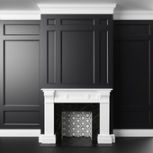 Black and white fireplace and panels