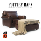 Pottery Barn Webster Leather Tobacco Set