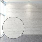 Aged brickwork of white brick