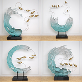 Abstract RESIN sculpture with birds glass material