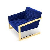 Pair of Brass & Velvet Tufted Lounge Chairs by Milo Baughman