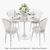 White set / Стул Babel от Marcel Wanders, стол Eero Saarinen Style Tulip, сервировка.