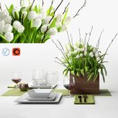 Tulips centerpiece - decorative set