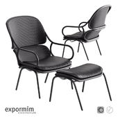 Expormim Frames Armchair with footstool