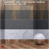 5 materials (seamless) - stone, plaster - set 26