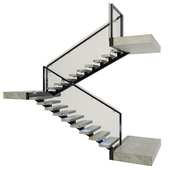 Ladder made of concrete, metal and glass with backlight illuminated PROFI LED IP44