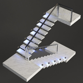 Ladder made of marble, stela and chrome metal with backlight PROFI LED IP44